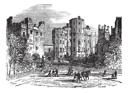 Lancaster castle, Lancashire vintage engraving. Old engraved illustration of historic lancaster castle.