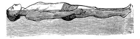 Back Float, vintage engraved illustration. Trousset encyclopedia (1886 - 1891).