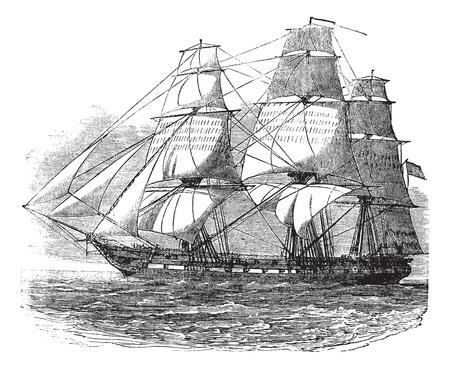 USS Constitution, vintage engraved illustration. Trousset encyclopedia (1886 - 1891).