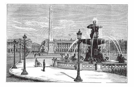 Place de la Concorde in Paris, France, during the 1890s, vintage engraving. Old engraved illustration of Place de la Concorde with running fountains and people around.