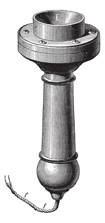 Fig. 4. - Perspective of the new telephone Magnetic Bell, vintage engraved illustration. Trousset encyclopedia (1886 - 1891).