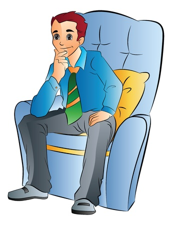 Young Man Sitting on a Soft Chair, vector illustration
