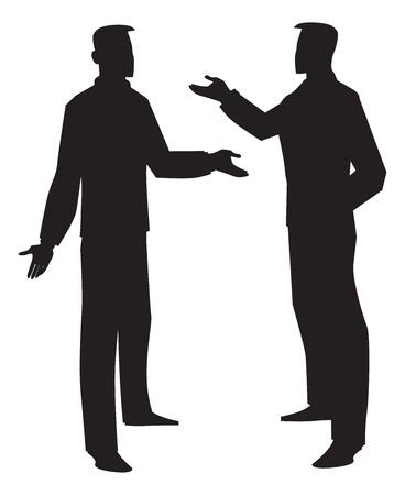 Illustration pour Silhouette of two men talking, black, vector illustration - image libre de droit