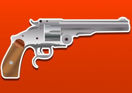 Gun, Handgun, Pistol or Revolver, vector illustration