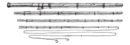 Four-piece Bamboo Fisherman's Rod, vintage engraved illustration. Le Magasin Pittoresque - Larive and Fleury - 1874