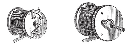 Fishing Reels, vintage engraved illustration. Le Magasin Pittoresque - Larive and Fleury - 1874