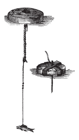 Simple Bricoles, in Fishing, vintage engraved illustration. Le Magasin Pittoresque - Larive and Fleury - 1874