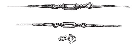 Various Types of Swivels, used in Fly Fishing, vintage engraved illustration. Le Magasin Pittoresque - Larive and Fleury - 1874