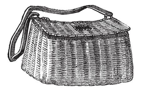 Fisherman's Basket, used in Fly Fishing, vintage engraved illustration. Le Magasin Pittoresque - Larive and Fleury - 1874