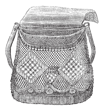 Fisherman's Bag, used in Fly Fishing, vintage engraved illustration. Le Magasin Pittoresque - Larive and Fleury - 1874