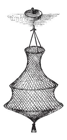 Fishing Basket or Bag, vintage engraved illustration. Le Magasin Pittoresque - Larive and Fleury - 1874