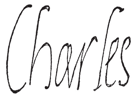 Signature of Charles IX, King of France (1550-1574), vintage engraved illustration. Dictionary of words and things - Larive and Fleury - 1895.