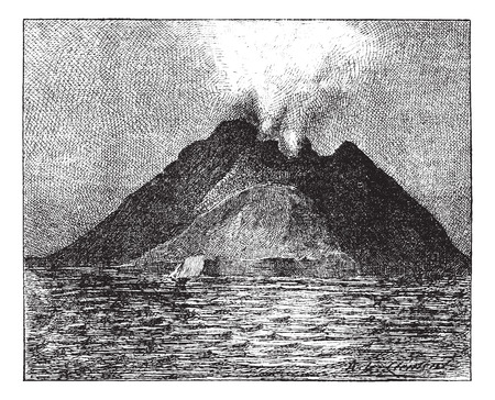 Erupting volcano Stromboli Italy vintage engraved illustration. Dictionary of words and t