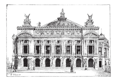 Paris Opera in Paris France built from 1861 to 1874 and opened in 1875 vintage engraved