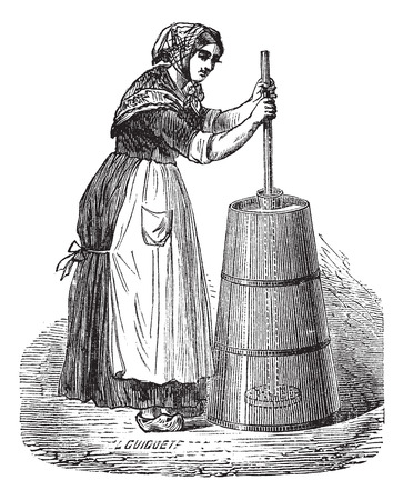 Illustration pour Old engraved illustration of Woman churning butter with ordinary plunger - image libre de droit