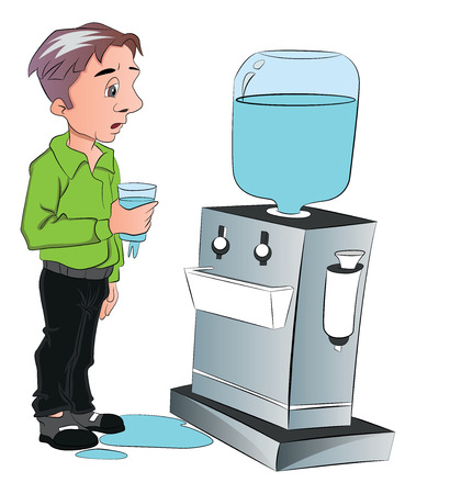 Illustration of man drinking water from cooler at office