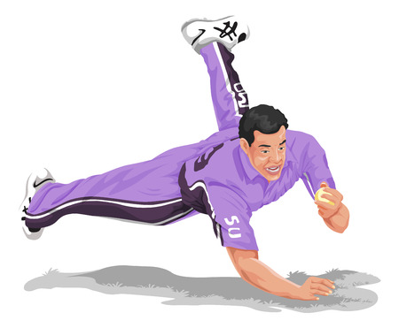 Vector illustration of cricket fielder diving and taking catch.
