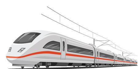 Illustration pour Vector illustration of bullet train with cable. - image libre de droit