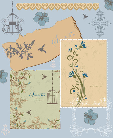 Vintage invitation card with ornate elegant retro abstract floral design, bluish gray and light brown flowers and leaves on grayish green beige and bluish gray background with frame borders birds and text label. Vector illustration.
