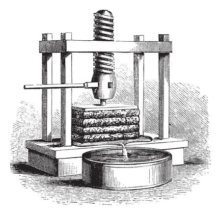 Cider Press, vintage engraving. Old engraved illustration of a Cider Press.