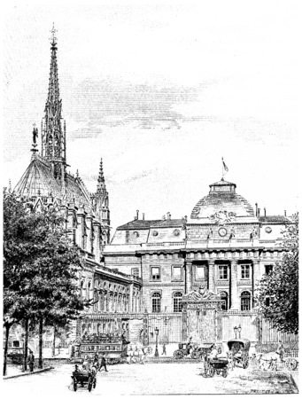 The Sainte-Chapelle and the entrance to the courthouse vintage engraved illustration. Paris