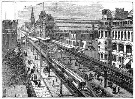 View of the Metropolitan Railway of New York, vintage engraved illustration. Industrial encyclopedia E.-O. Lami - 1875.