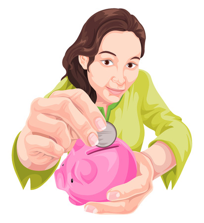 Vector illustration of woman inserting coin in piggy bank.