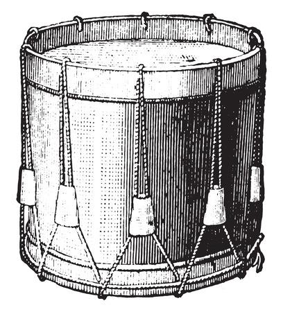 Snare drum strings, vintage engraved illustration. Industrial encyclopedia E.-O. Lami - 1875.
