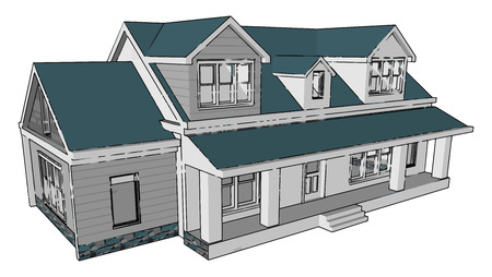 Illustration pour Houses bungalow villa apartment are the foundation of the peoples future They are the exterior reflections of our inner thoughts or status vector color drawing or illustration - image libre de droit