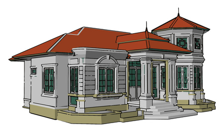 Illustration pour A bungalow is a one story house cottage or cabin Bungalow are generally small I terms of square footage but it is not uncommon to see very large bungalows vector color drawing or illustration - image libre de droit