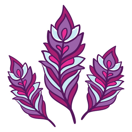 Illustration pour A bright purple colorful clipart of three feathers in various size vector color drawing or illustration - image libre de droit