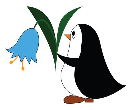 Illustration pour Black and white penguine holding a blue flower vector illustration on white background - image libre de droit
