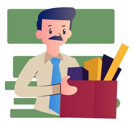 Illustration pour Cartoon man with mustache vector illustartion on white background - image libre de droit