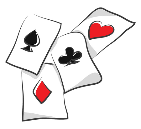 A set of rummy cards placed on the table vector color drawing or illustration