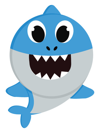 Ilustración de A small blue shark swimming in the sea with large eyes spiked teeth and tiny blue fins vector color drawing or illustration - Imagen libre de derechos