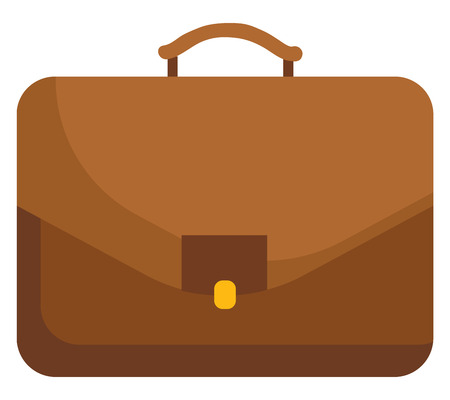 A brown-colored portfolio a box-style case made of leather is a handle less case to contain papers and files to be carried in the hand or under the arm vector color drawing or illustration