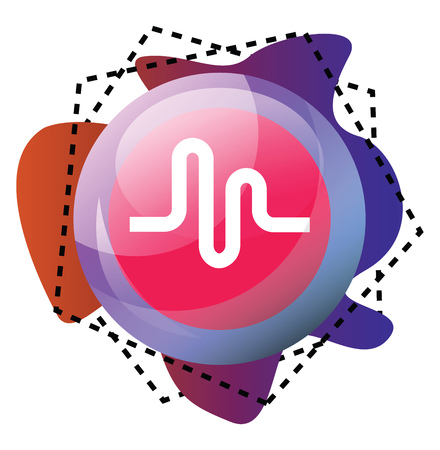 Musically app bubble and graphics of different colors vector icon illustration on a white background