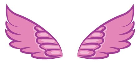 A purple wings spread out wide, vector, color drawing or illustration.