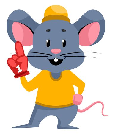 Mouse with red glove, illustration, vector on white background.