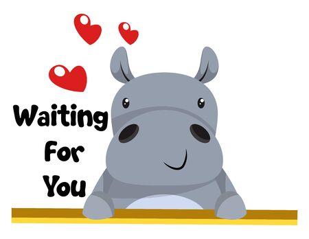 Ilustración de Hippo in love, illustration, vector on white background. - Imagen libre de derechos