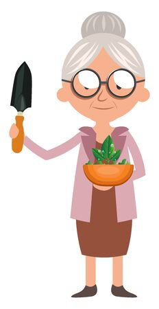 Granny with plant, illustration, vector on white background.
