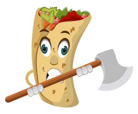 Burrito with axe, illustration, vector on white background.