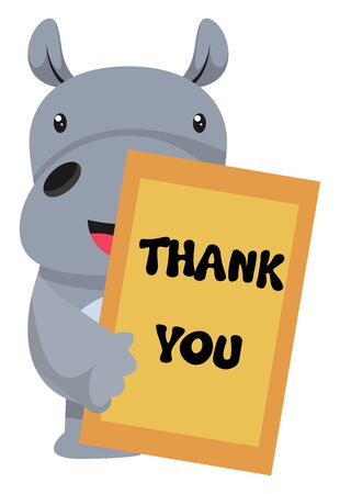 Ilustración de Hippo with thank you note, illustration, vector on white background. - Imagen libre de derechos