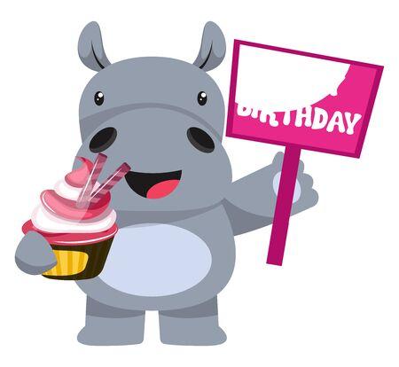 Ilustración de Hippo with cake, illustration, vector on white background. - Imagen libre de derechos