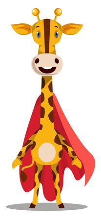 Giraffe with red cape, illustration, vector on white background.