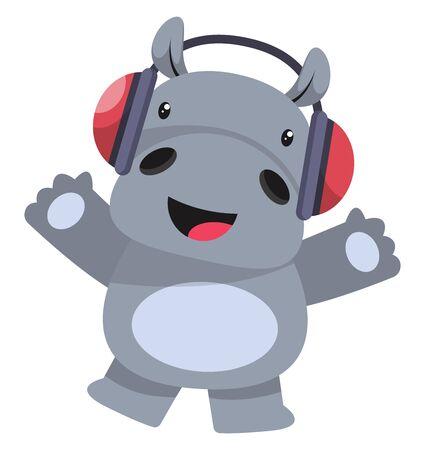 Ilustración de Hippo with headphones, illustration, vector on white background. - Imagen libre de derechos