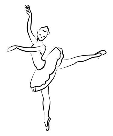 Illustration pour Ballerina silhouette, illustration, vector on white background. - image libre de droit
