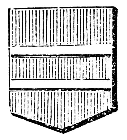 Shield Showing Barrulet is frequently used to describe double bars, vintage line drawing or engraving illustration.