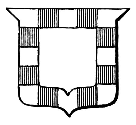 Bordure Gobonated is a Bordure Gobonated Argent, vintage line drawing or engraving illustration.