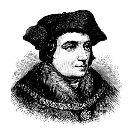 Illustration pour Sir Thomas More face after Holbein in this picture, vintage line drawing or engraving illustration. - image libre de droit